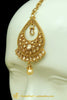 Golden Polki Pearl Earrings Tikka Set By Punjabi Traditional Jewellery