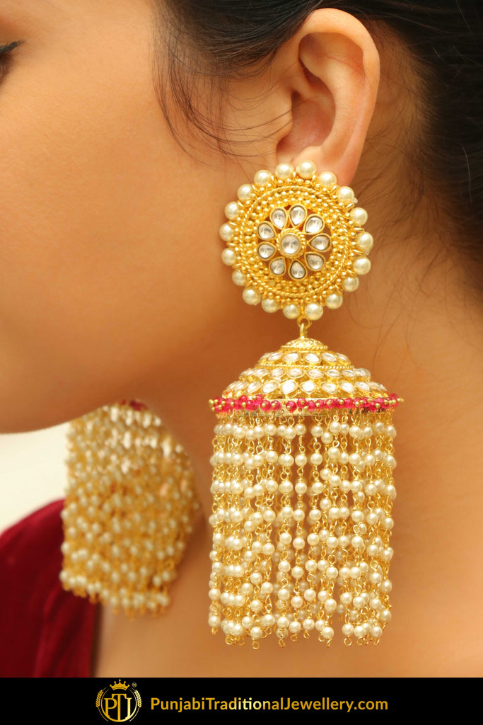 Habibah Kundan Jhumki Earrings with Strings/Jhaalar | Punjabi Traditional jewellery Exclusive