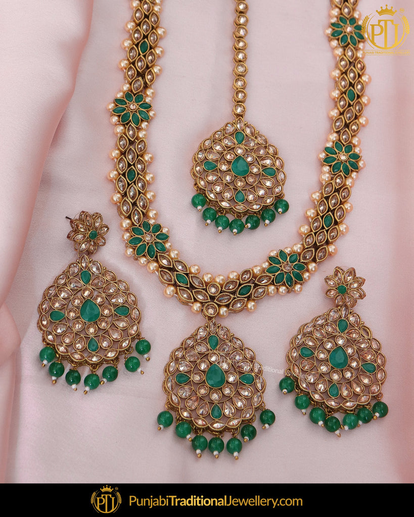 Gold Finished Champagne Stone Emerald Pearl Long Necklace Set | Punjabi Traditional Jewellery Exclusive