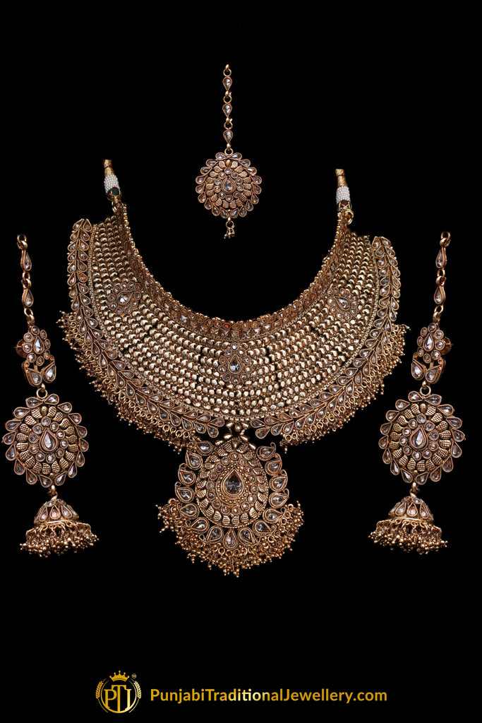 Antique Gold Polki Choker Necklace Set By Punjabi Traditional Jewellery