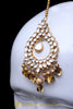 Golden Kundan Pippal Patti Earring Tikka Set By Punjabi Traditional Jewellery