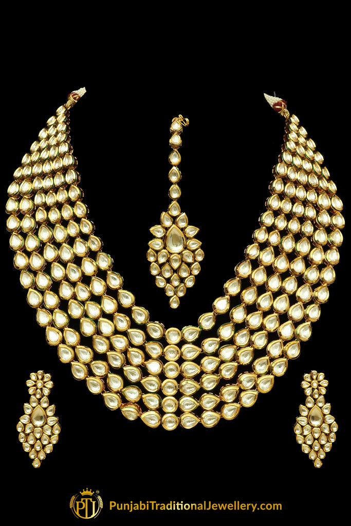 White Kundan Necklace Set By Punjabi Traditional Jewellery
