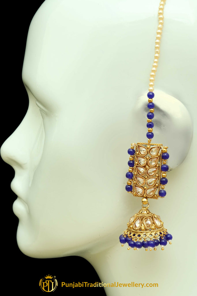 Blue Polki Sahare Jhumki Earrings By Punjabi Traditional Jewellery