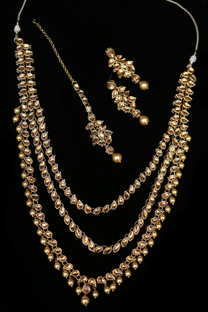 Qahr Kundan long set Necklace Set By Punjabi Traditional Jewellery