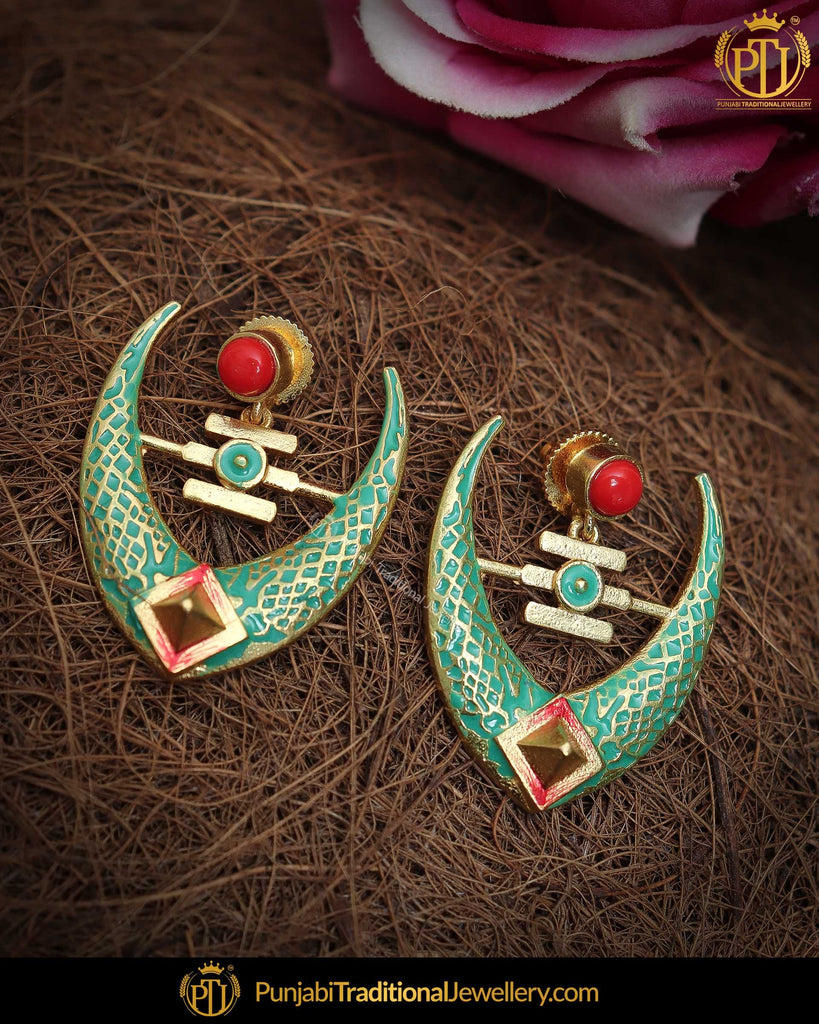 Hand Painted Green Meena Rubby Chand Earrings | Punjabi Traditional Jewellery Exclusive