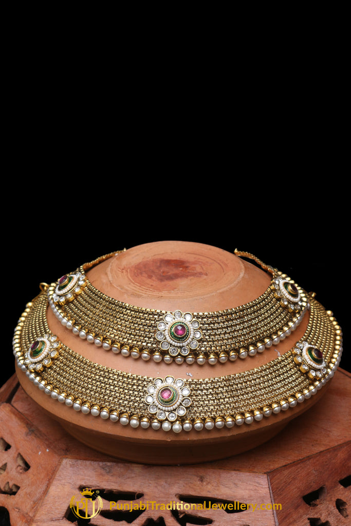 Red Antique Gold, Polki Payal By Punjabi Traditional Jewellery