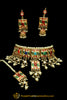 Multi Meena Kundan Pearl Choker Necklace Set By Punjabi Traditional Jewellery