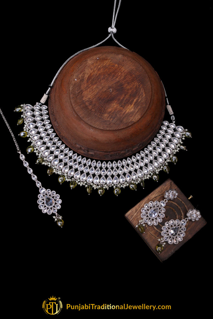 Green Polki Necklace Set By Punjabi Traditional Jewellery