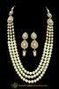 White Polki Pearl Mala Necklace Set By Punjabi Traditional Jewellery