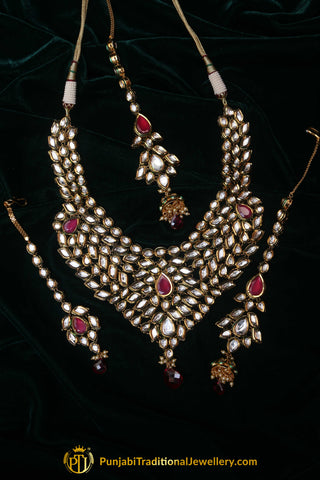 e1ffa4d6d6 Red Kundan Necklace Set With Sahare Earrings By Punjabi Traditional  Jewellery. Rs. 16,500