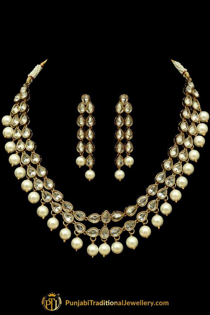 Silver Polki Pearl Necklace Set By Punjabi Traditional Jewellery