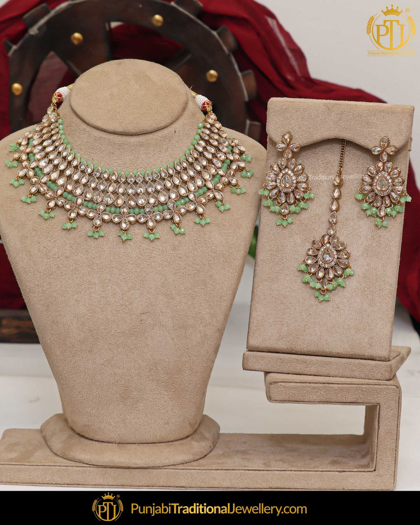 Gold Finished Champagne Stone Pista Green Pearl Necklace Set | Punjabi Traditional Jewellery Exclusive