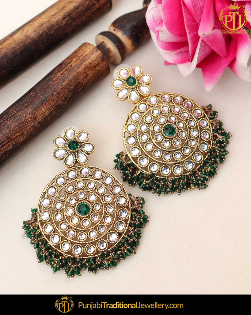 Gold Finsihed Eemrald Kundan Pearl Earrings | Punjabi Traditional Jewellery Exclusive