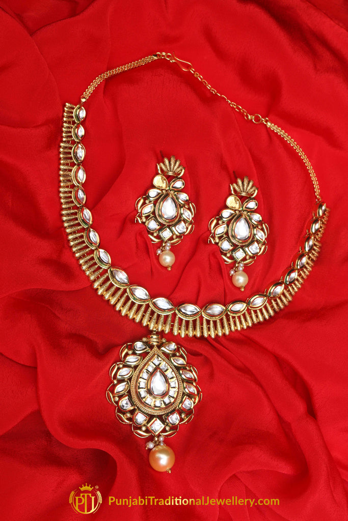 Gold Plated With Kundan Necklace Set By Punjabi Traditional Jewellery