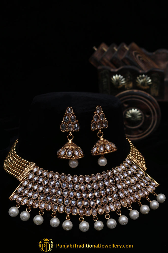 Shabhana Golden Pearl Polki Choker Necklace Set By Punjabi Traditional Jewellery