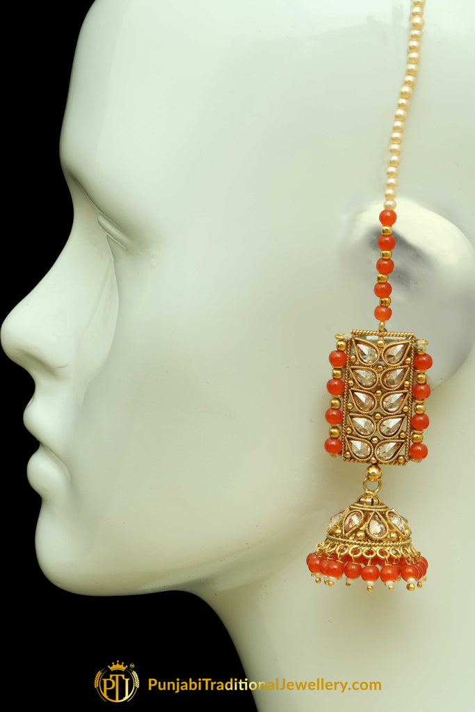 Orange Polki Sahare Jhumki Earrings By Punjabi Traditional Jewellery
