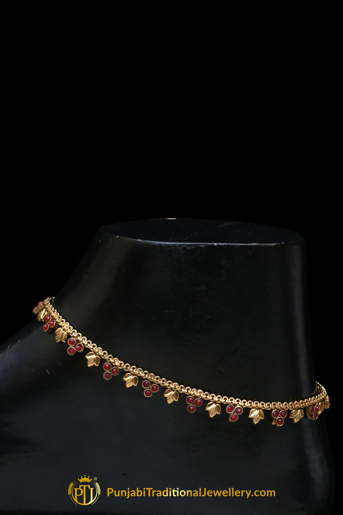 Maroon Polki Payal By Punjabi Traditional Jewellery