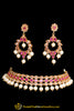 Red Pearl Champagne Stone Necklace Set By Punjabi Taditional Jewellery