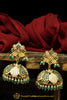 Green Jadau & Jhumki Earrings By Punjabi Traditional Jewellery
