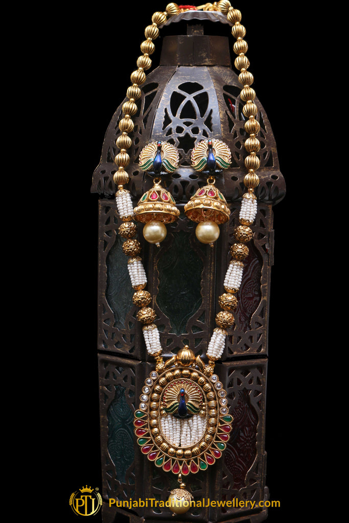Red & Green Jodha Necklace Set By Punjabi Traditional Jewellery