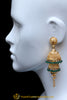 Green Jhumki Gold Plated Earrings By Punjabi Traditional Jewellery