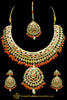 Orange Jadau Kundan Necklace Set By Punjabi Traditional Jewellery