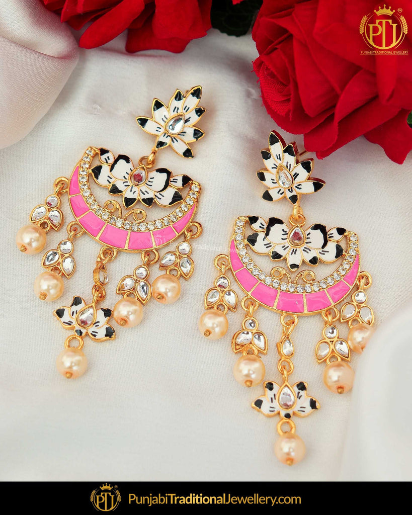 Hand Painted Pink & Black Meena Pearl Kundan Earrings | Punjabi Traditional Jewellery Exclusive