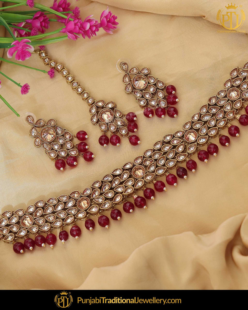 Gold Finished Rubby Chamapgne Stone Choker Necklace Set | Punjabi Traditional Jewellery Exclusive