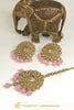Antique Gold Champagne Stone Pink Stud Earrings & Tikka Set By Punjabi Traditional Jewellery