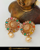 Gold Finished Navratan Polki Stone Stud Earrings | Punjabi Traditional Jewellery Exclusive