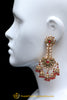 Red Champagne Stone Earrings By Punjabi Traditional Jewellery