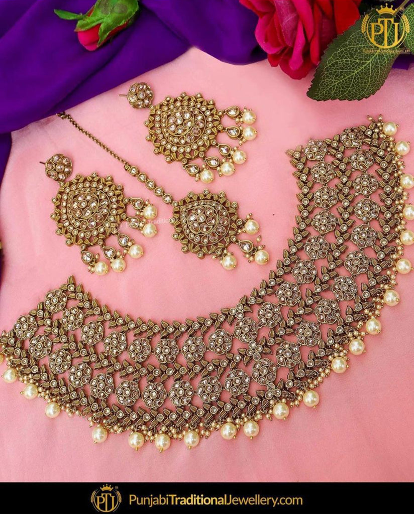 Antique Gold Finished Pearl Champagne Stone Necklace Set | Punjabi Traditional Jewellery Exclusive