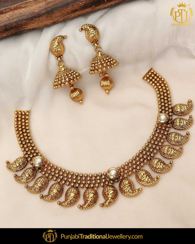Antique Gold Finished Kundan Necklace Set  | Punjabi Traditional Jewellery Exclusive