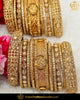 Antique Gold Finished Chamapgne Stone Bangles Set (Both Hand Pair) | Punjabi Traditional Jewellery Exclusive
