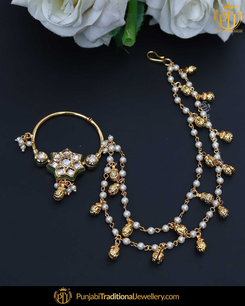 Gold Finished Kundan Pearl Nath | Punjabi Traditional Jewellery Exclusive