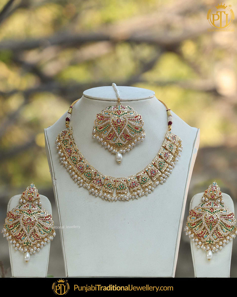 Gold Finished Eamrald Rubby Pearl Jadau Necklace Set | Punjabi Traditional Jewellery Exclusive