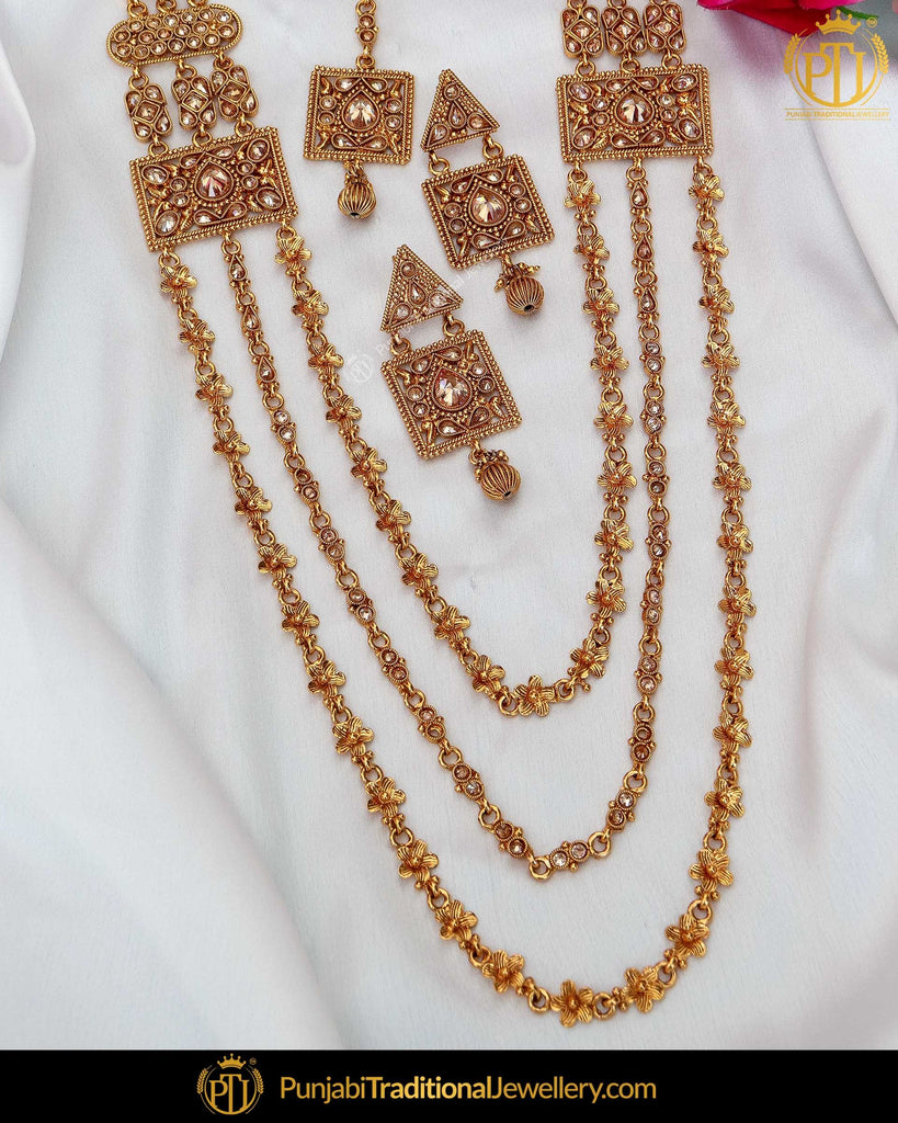 Antique Gold Finished Champagne Stone Long  Set  | Punjabi Traditional Jewellery Exclusive