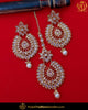 Silver Finished Polki Stone Pearl Earring Tikka Set | Punjabi Traditional Jewellery Exclusive