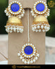Gold Finished Jhumki Blue Kundan Pearl Earring Tikka Set | Punjabi Traditional Jewellery Exclusive