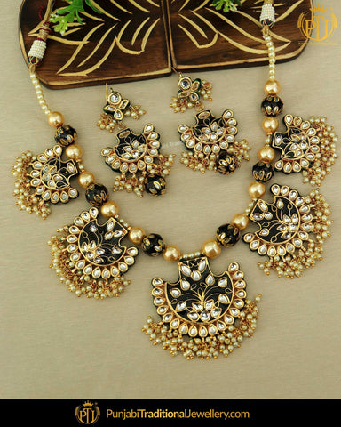 Meena Kundan Jewelry With Earrings 538 Bridal Jewelry Set Indian Traditional Bollywood Pearl Partywear Jewelry Set Green
