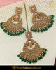 Gold Finished Champange Stone Emerald Earring Tikka Set | Punjabi Traditional Jewellery Exclusive