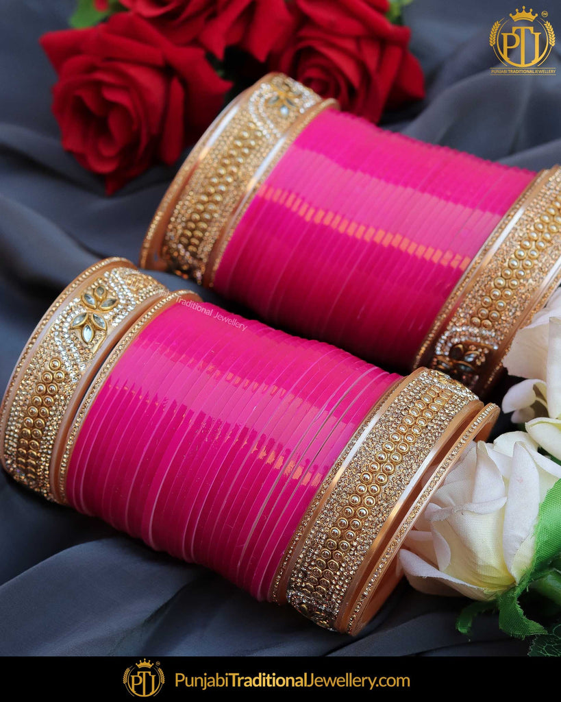Hot Pink Pearl Bridal Chura | Punjabi Traditional Jewellery Exclusive