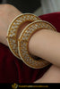 Feerozah Gold Finished Polki Openable Karra Bangle  | Punjabi Traditional Jewellery Exclusive