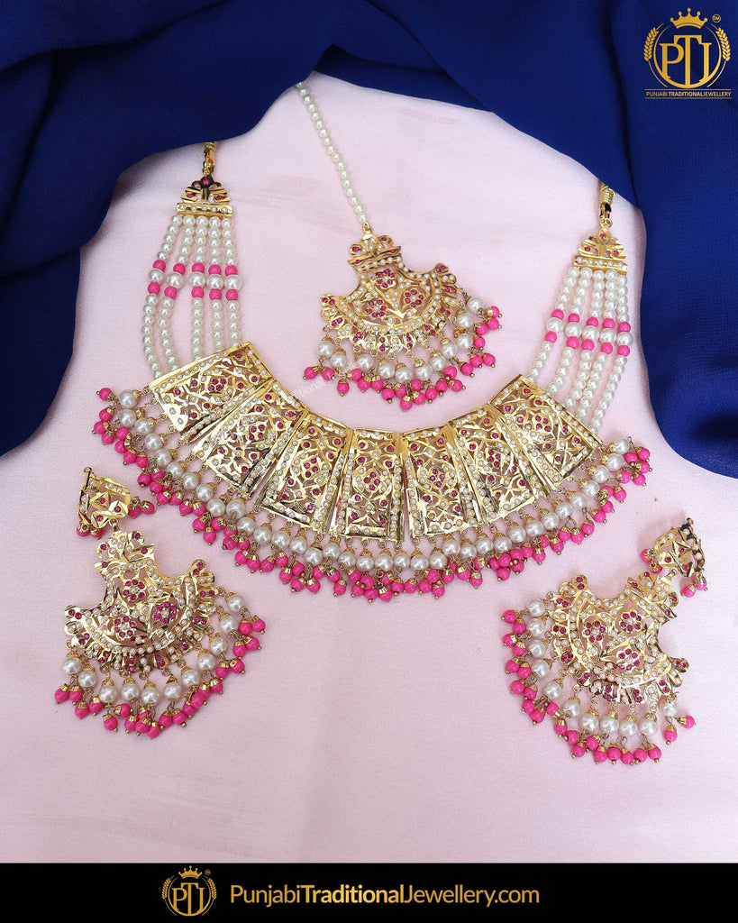 Gold Finished Pink Jadau Pearl Necklace Set  | Punjabi Traditional Jewellery Exclusive