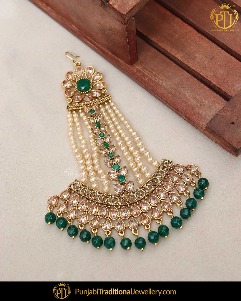 Gold Finished Emerald Pearl Champagne Stone Passa | Punjabi Traditional Jewellery Exclusive