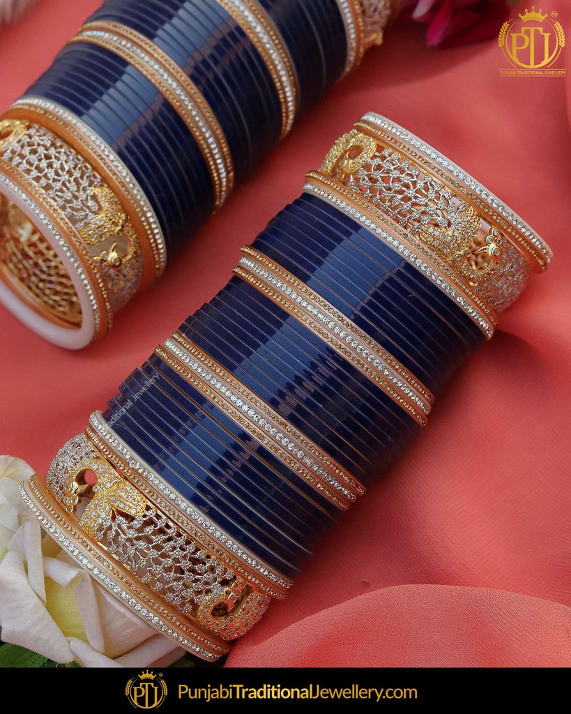 Blue Pearl AD Stone Bridal Chura | Punjabi Traditional Jewellery Exclusive