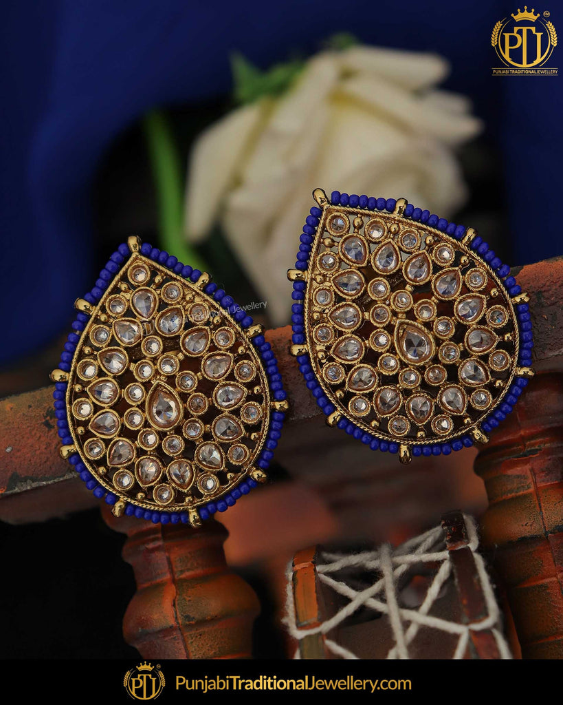 Gold Finished Blue Champagne Stone Pearl Stud Earrings | Punjabi Traditional Jewellery Exclusive