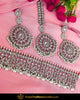 Silver Finished Polki Choker Pearl Necklace Set | Punjabi Traditional Jewellery Exclusive