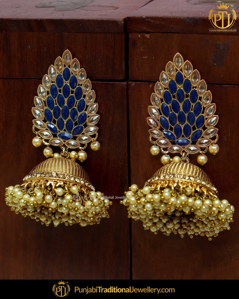 Antique Gold Finished Blue Polki Jhumki Earrings By Punjabi Traditional Jewellery