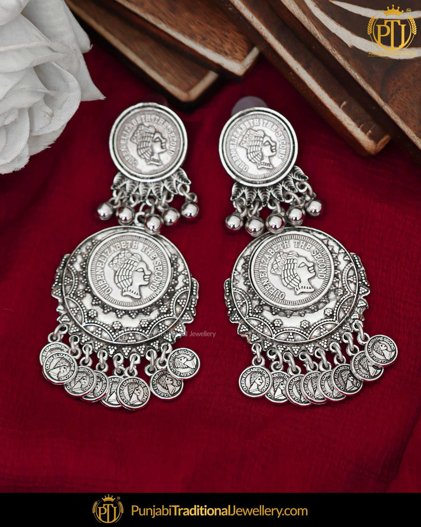 Afghan Silver Finished Oxidised Earrings | Punjabi Traditional Jewellery Exclusive